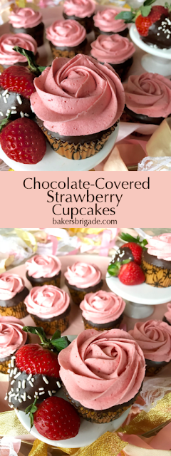 Sweet Chocolate Covered Strawberry Cupcakes