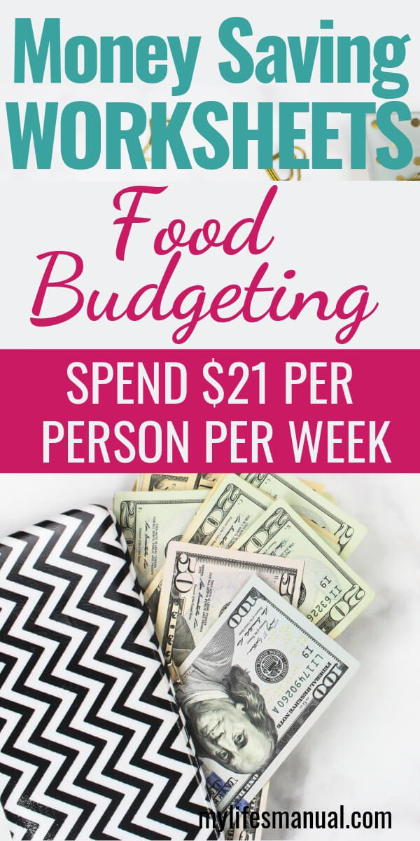 Money saving worksheets. Food budget. money worksheets
