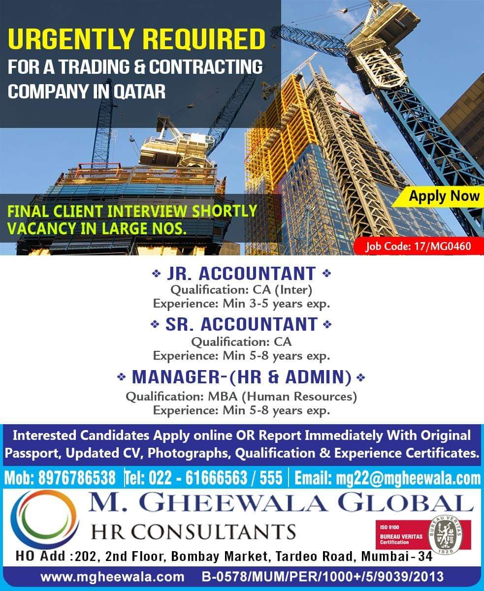 Urgently Required For A Trading And Contracting Company In