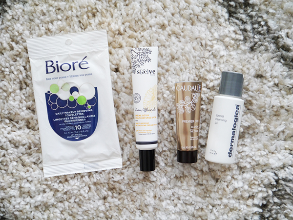 Empty skincare products from Dermalogica, Caudalie, Saeve, Biore