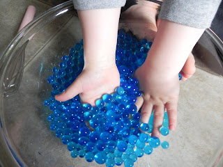 Running With Glitter Glue Sensory Fun Water Beads