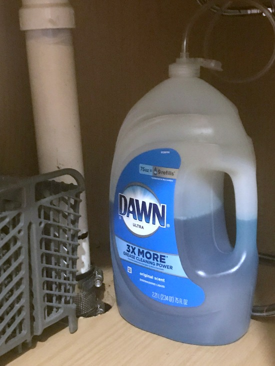 Dawn gallon soap under the sink