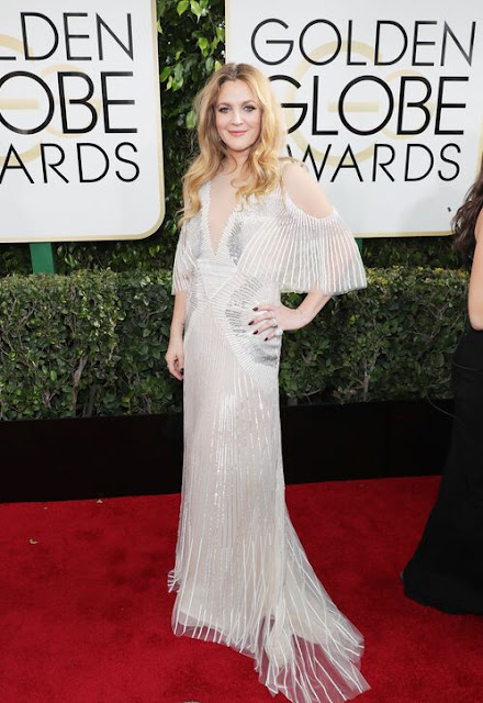 Drew Barrymore Looked Stunning In a Silver Gown With Bat Wing Sleeves  At 2017 Golden Globes