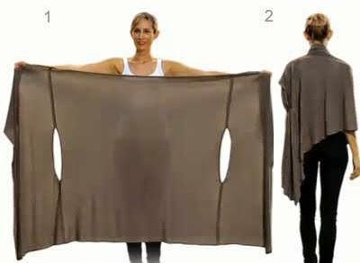 poncho convertible en blusa, cárdigan, túnica, pañuelo…Sin coser