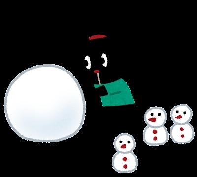 雪だるまを作る ぴょこ のイラスト