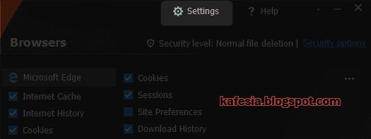 halaman konfigurasi free privacy eraser