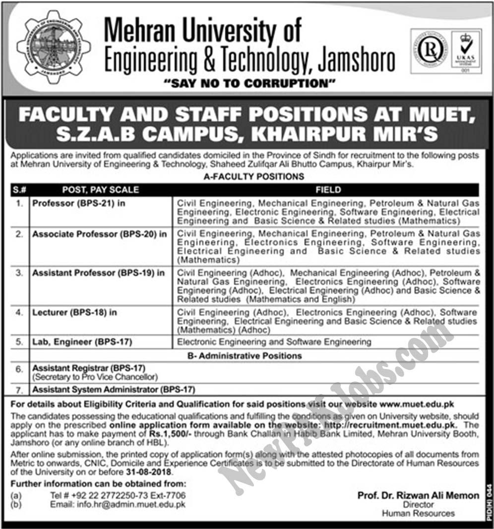 MUET Jobs 2018,Mehran University of Engineering & Technology