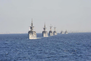 Egyptian Navy warships in formation.
