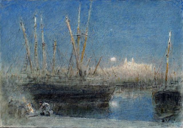 Albert Goodwin, Noche en puerto de Mallorca, Mallorca en Pintura, Mallorca pintada, Paisajes de Mallorca