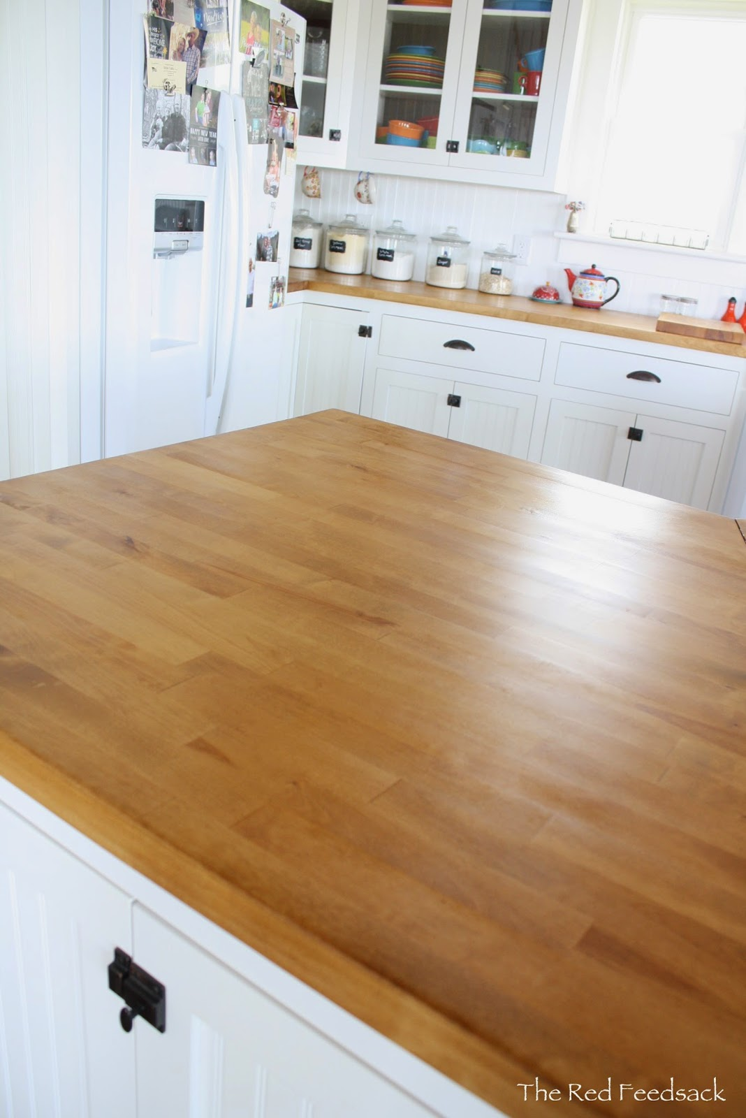 The Red Feedsack: Update On Butcher Block Countertops!