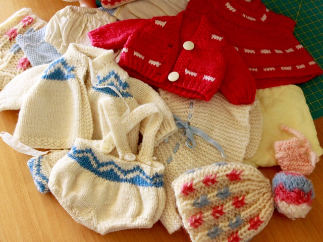 Vintage doll knitted clothes