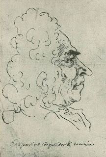 Francesco Gasparini, captured in a caricature by Pier Leone Ghezzi