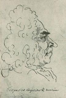 Francesco Gasparini, captured in a caricature by Pier Leone Ghezzi