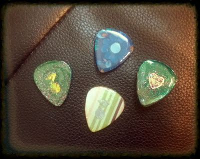 Hand made guitar pick samples