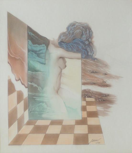 José Marí Llobet dibujo surrealista desnudo mujer