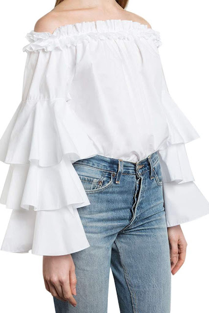 Iyasson Ruffle sleeve off shoulder top