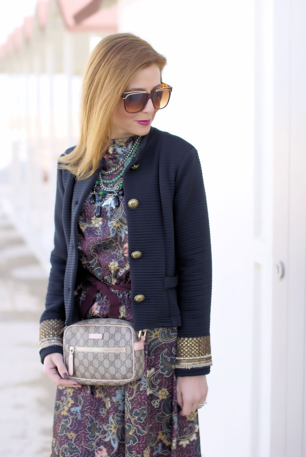 70s style floral dress Vicolo, Dixie military jacket and Gucci bag on Fashion and Cookies fashion blog, fashion blogger style