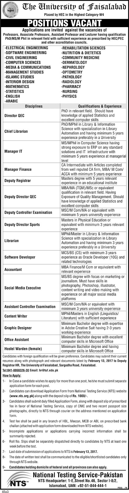 Lecturers Jobs in University of Faisalabad Jobs