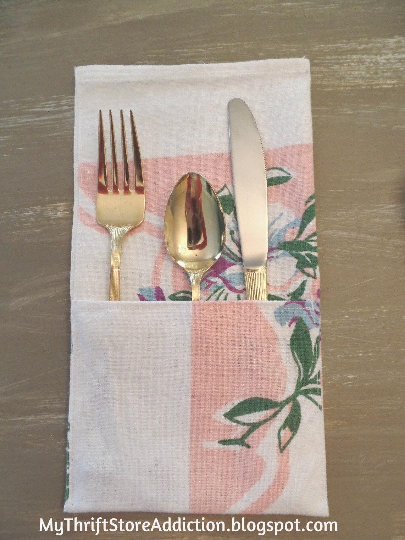 Repurposed vintage tablecloth flatware pockets