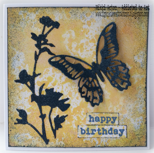 Birthday card with Distress Oxides, Tim Holtz Wildflower and mini detailed butterfly dies .