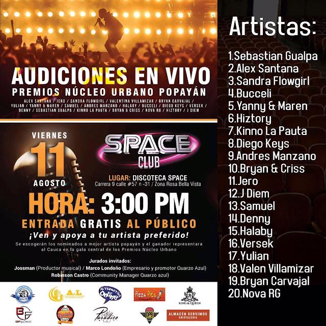 Finalistas Audiciones Popayan  11 Agosto