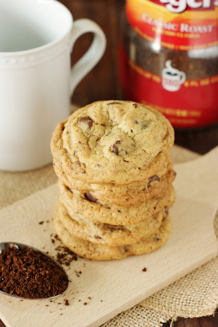 Coffee Chocolate Chip Cookies ~ Give traditional chocolate chip cookies a tasty coffee twist ... with a little hit of instant coffee granules!   www.thekitchenismyplayground.com