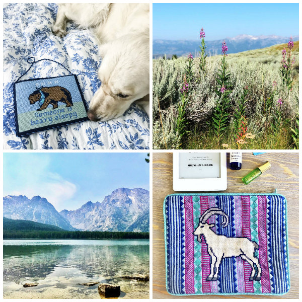 Ben Bear and Isla Ibex needlepoint sign and purse by Thorn Alexander and the beauiful scenary of mountains and wild flowers that inspired them