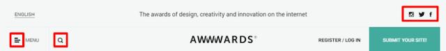 Iconos marcados en rojo, menu,buscar y redes sociales