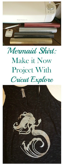 Create your own HTV mermaid shirt with the Cricut Explore using a Make It Now project in the Cricut design space!