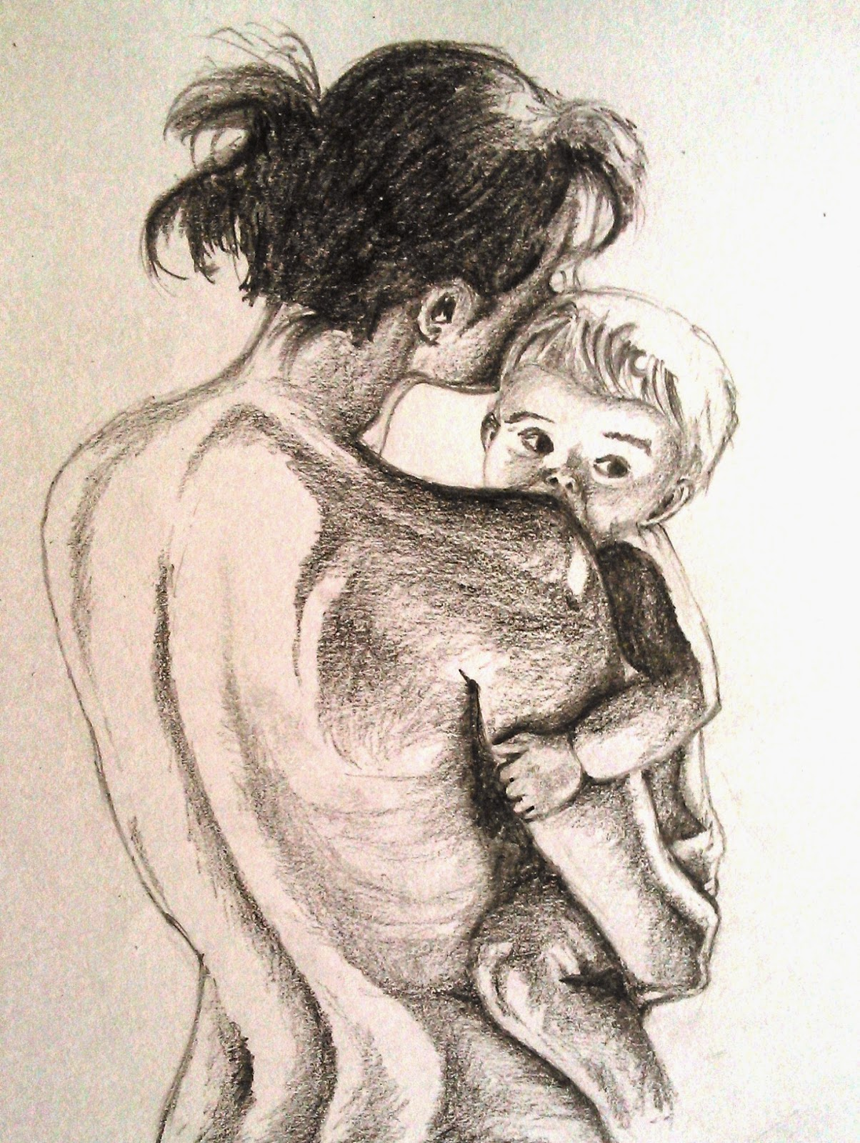 I have tried to show the love between mother and her child through this sketch