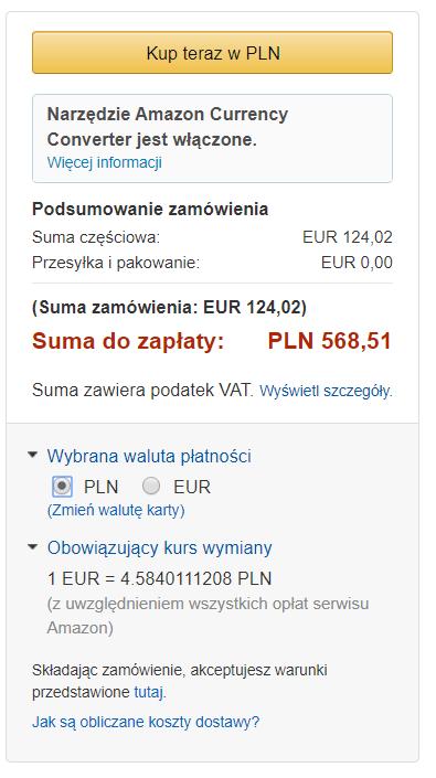 Kindle Paperwhite 3 - kwota do zapłaty to 124,02 euro lub 658,51 PLN