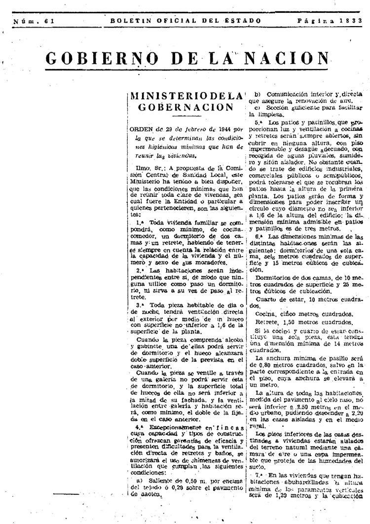 condiciones mínimas de viviendas 1944 – pagina 1