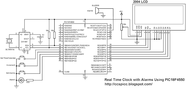 Real time clock with alarm using PIC18F4550 and DS1307 circuit
