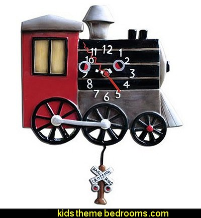 Toots Train Clock   Train themed bedroom decorating ideas - boys bedroom train theme decor  - train themed beds - train themed furniture - train theme bedding - train theme decorations - Thomas the tank bedroom - Thomas the tank theme bed - old world train themed bedroom - vintage style trains wall murals - choo choo trains wall decal stickers - Train Theme furniture