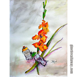 Watercolor and Ink Still Life Painting by Ginette Callaway