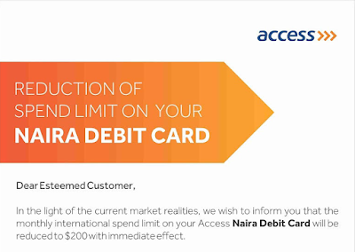 access bank visa card international spend limit