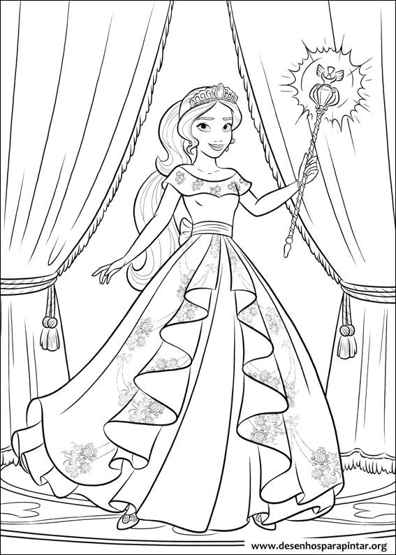 Coloring pages for kids free images: Elena of Avalor ...