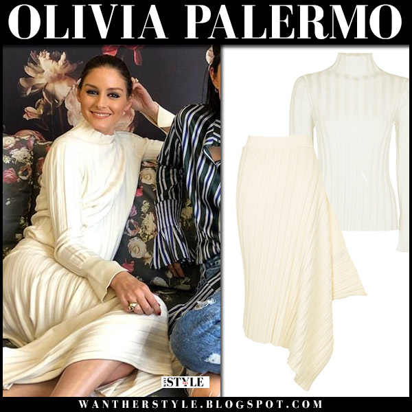 Olivia Palermo in cream knit sweater and cream ribbed skirt topshop style may 9