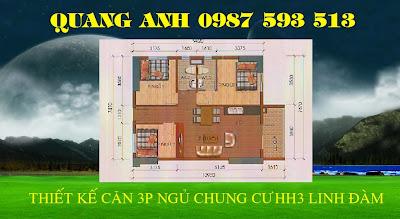 Thiết kế căn 3 phòng ngủ chung cư hh3 linh đàm