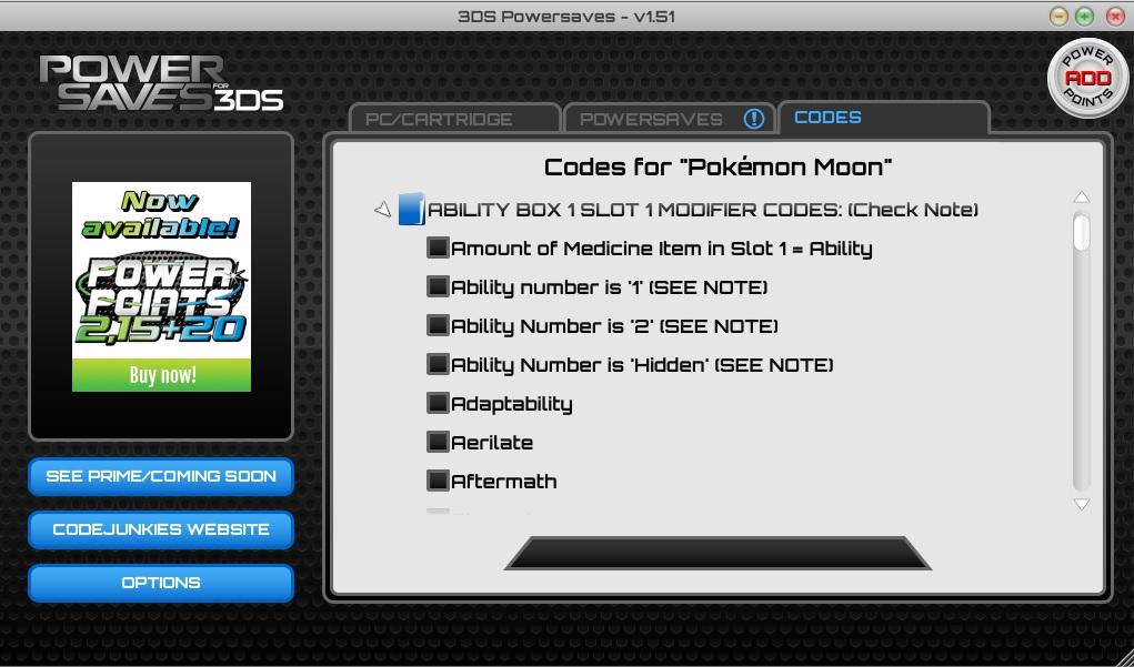 ability box 1 slot 1 modifier codes
