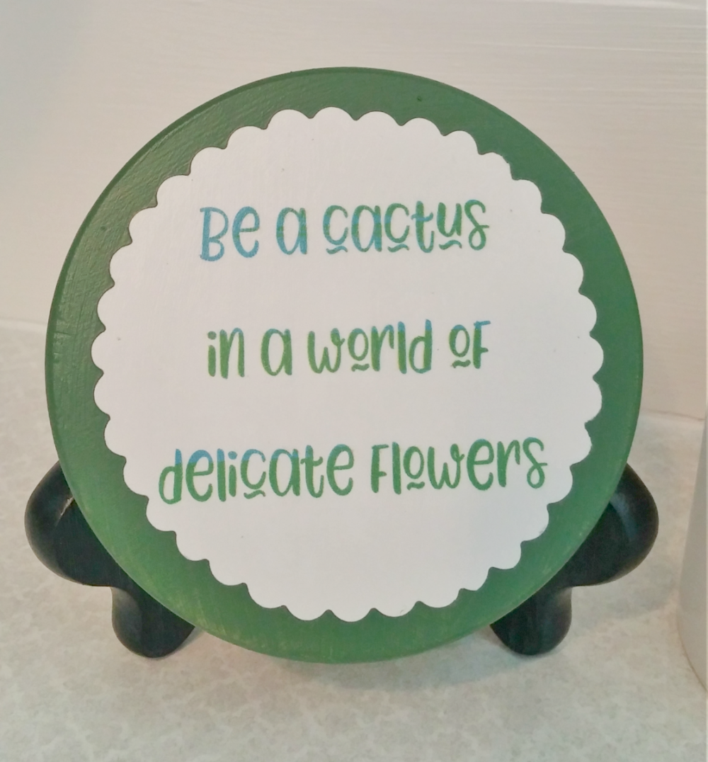 Upcycled Candle Jar lid sign