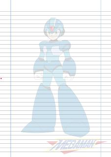 Folha Papel Pautado Megaman PDF para imprimir A4
