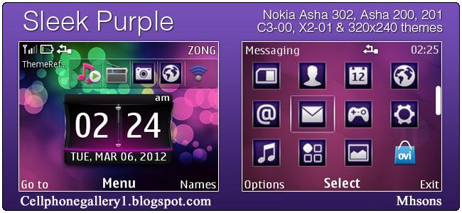 Sleek Purple Theme For Nokia Asha 302 - Android