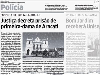 Primeira-dama do Município de Aracati, Eline Gomes, continua foragida