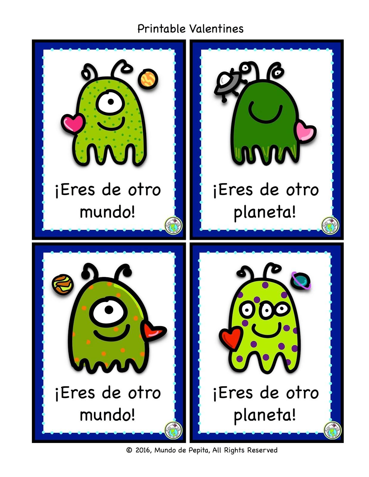 Printable Spanish Valentines For Kids