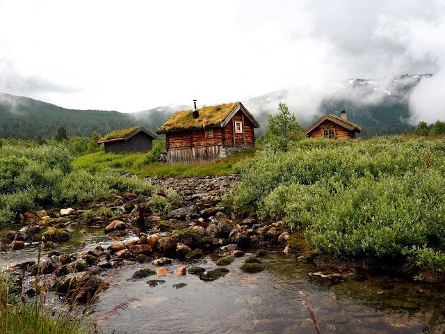 chaty, architektura, příroda, domečky, hory, trek, turistika, Norsko, Jotunheimen, Vettismorki