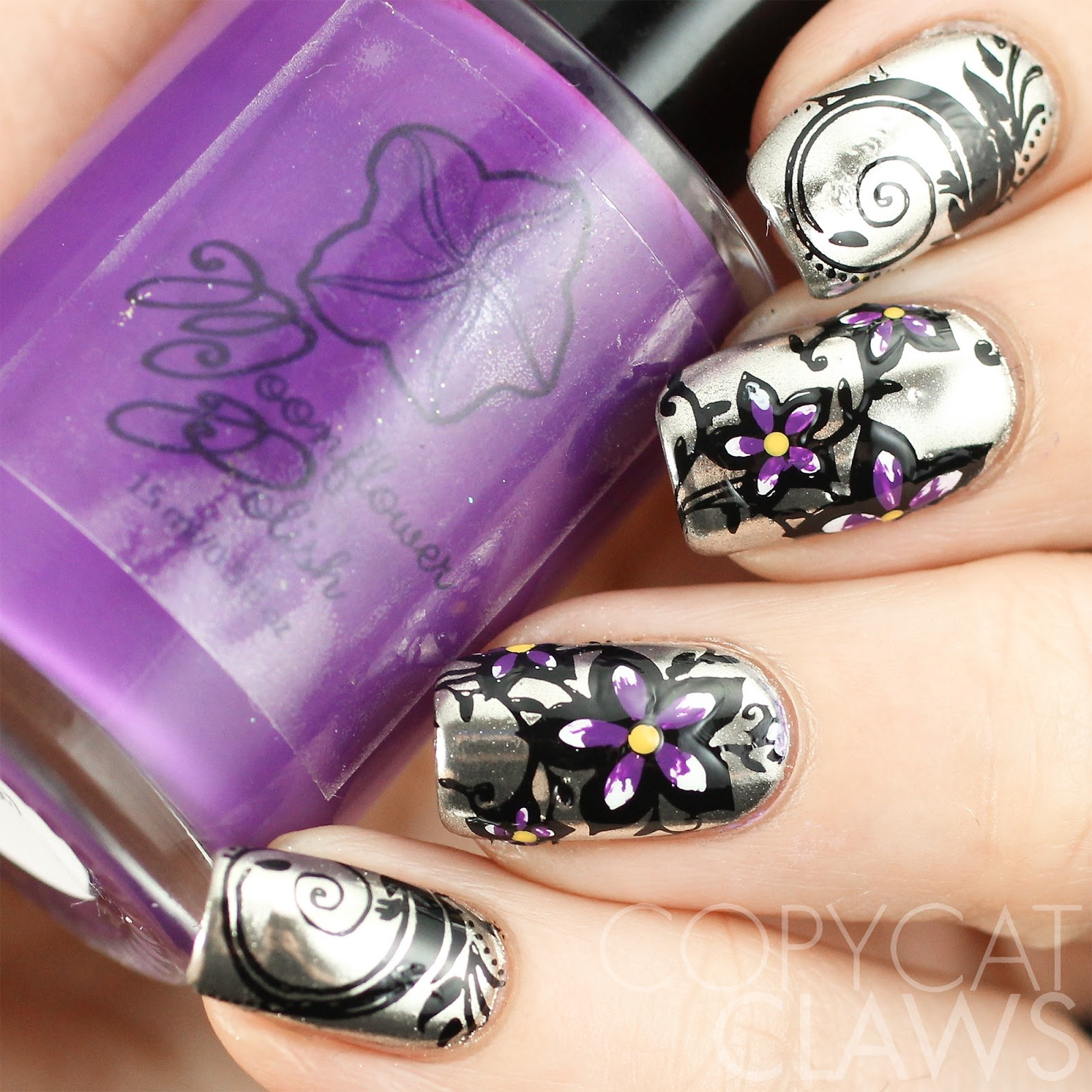 Avon Chrome Nail Powder: Copycat Claws: Floral Stamping On Chrome Nails