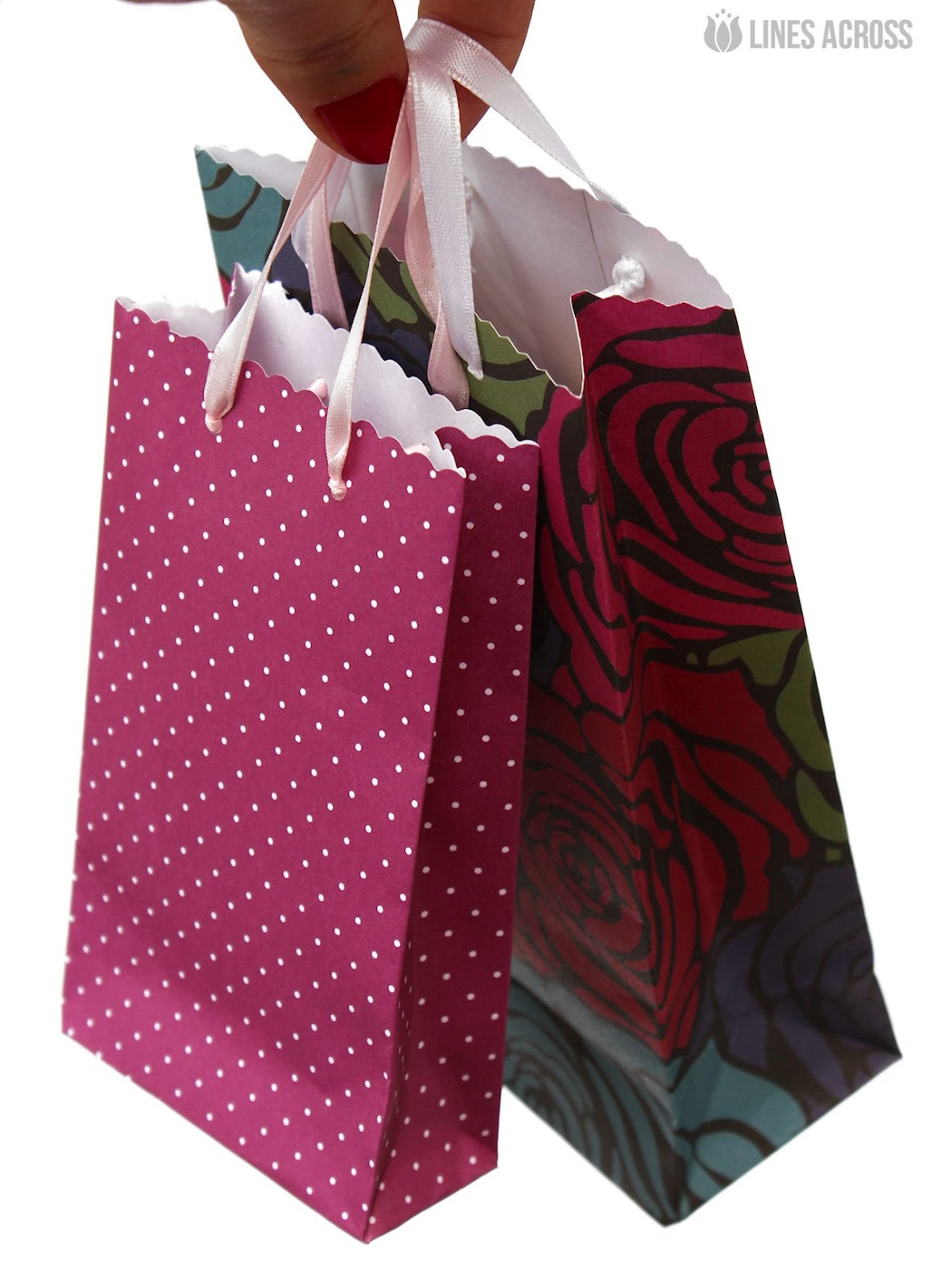Paper Gift Bag Tutorial with Lines Across Inspiration