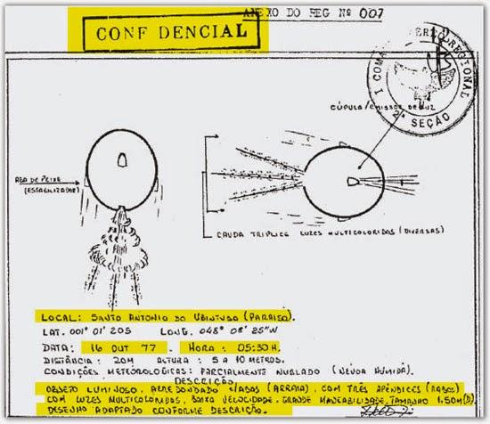 """Documento com relato de OVNI da """"Operação Prato"""""""