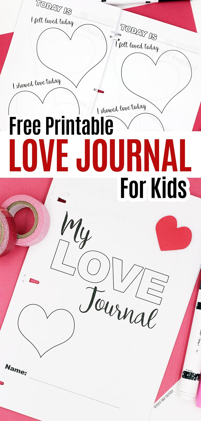 Free printable journal for kids to celebrate all the ways they feel loved! Kids and families can record moments of love in this free printable journal to color. Draw, write, and decorate this love journal to celebrate love all around us. Part of our Family Dinner Book Club project! #forkids #freeprintables #journals #kidsbooks